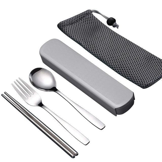 Portable Travel Stainless Steel Dinnerware With Box dinner cutlery set