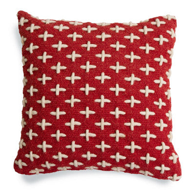 Blu Dot Mima Pillow in Red with Cream Cross Stitch