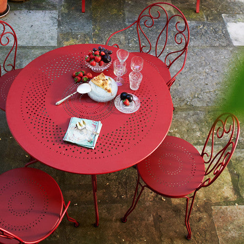 Fermob Montmartre Table and Bistro Chairs in Red