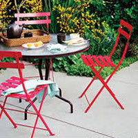 Fermob Contemporary Bistro Chairs and Tables in Red