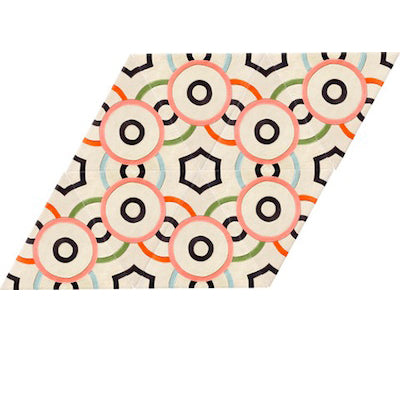 KinderGROUND Parallelogram Rug in Milk Circle Dot Pattern