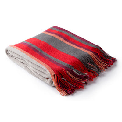 Surya Topanga Throw Blanket in red, tan, burgundy
