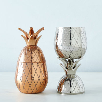 W and P Design Pineapple Tumblers in Stainless Steel, Brass, and Copper