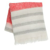 Ferm Living Mohair Throw in Red, Cream, Gray Stripes