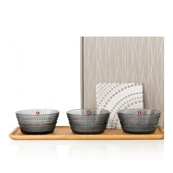 iittala Tapas Set with 3 Kastehelmi Bowls, Wood Tray, and Linens