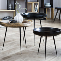 The Bowl Table by Mater. Shown in Black and Grey.
