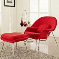 Knoll's Womb Chair and Ottoman, designed by Eero Saarinen. Shown in Cato Fire Red.