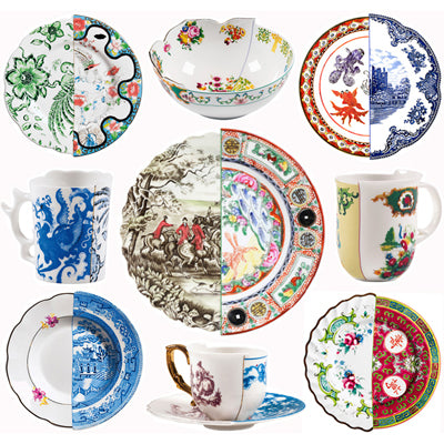 Seletti Hybrid Collection of Fine China Plates, Bowls, Cups, and Glasses