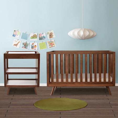 Ubabub Sale featuring Nifty 2 Piece Convertible Crib and Changer in Walnut