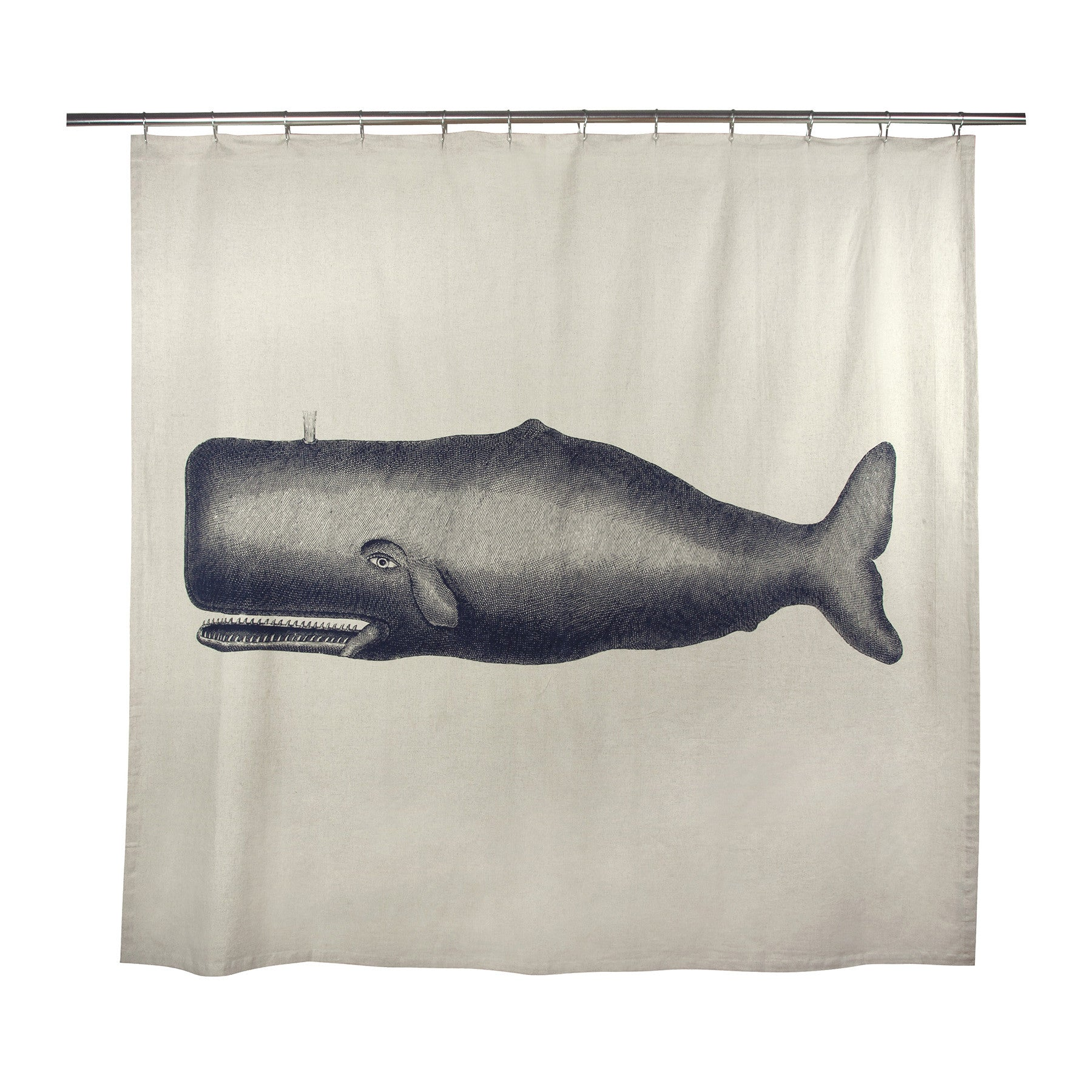 Whale shower curtain - Moby Flax Shower Curtain