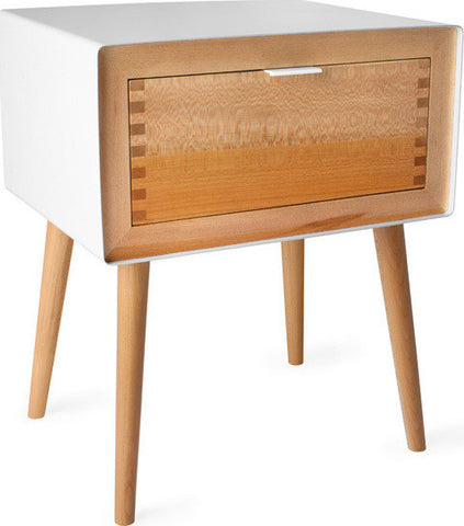 Haven White Lacquered Sycamore Nightstand