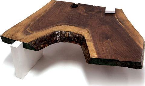 Live Edge Coffee Table with White Gloss Laminate Legs