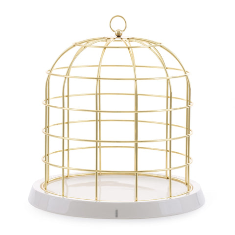 Twitable Gold Metal Birdcage With Porcelain Base