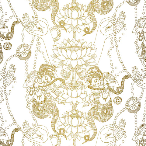 Naga Lotus Wallpaper Sample Swatch