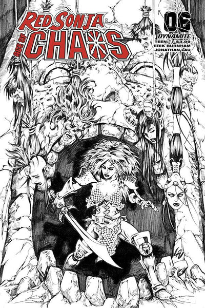 RED SONJA AGE OF CHAOS #6 35 COPY LAU B&W FOC INCV