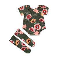 Floral One-Piece With Socks Set