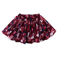 Red Floral Ruffle Skirt