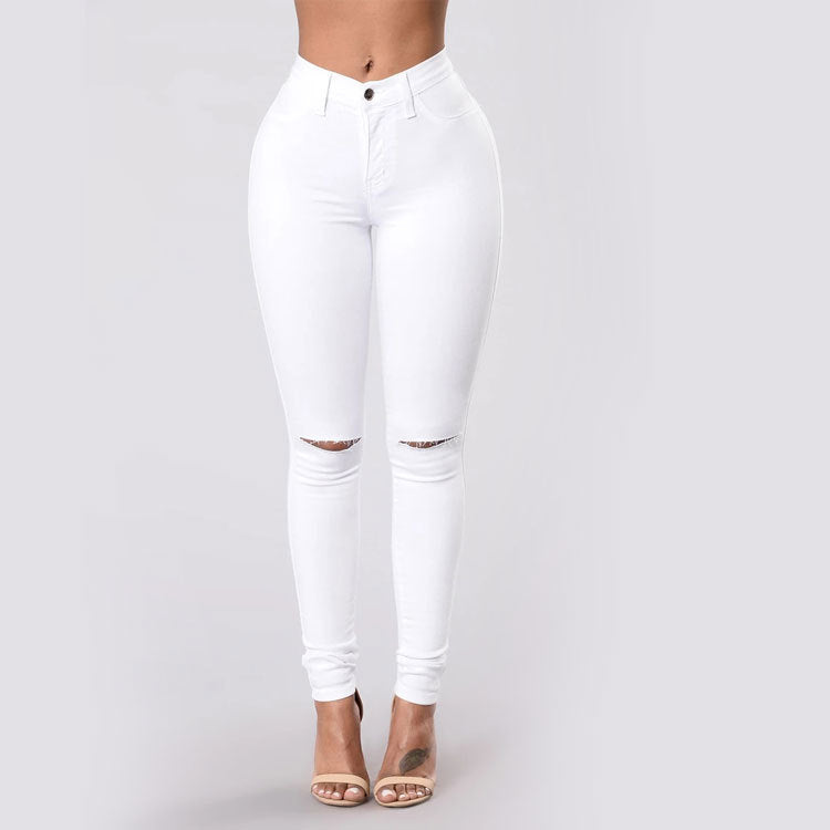 In High Mid Waist Holes Solid Skinny's