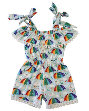 Rainbow umbrella pom romper