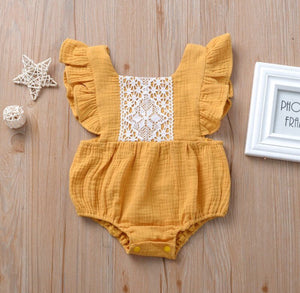Yellow Ruffle Laced Bodysuit
