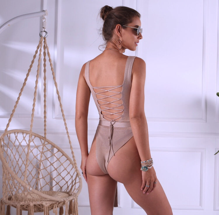 Sassy Little Lady Bandage Stringback Bodysuit
