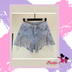 Barbie Heavy Rhinestone Shorts High Waist Denim Shorts