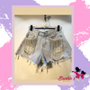 Barbie Tassels Beads Blue Jean Shorts Diamond Set Holes Denim Shorts Women Hot Pants Jeans