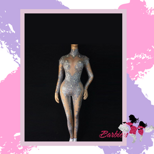 Barbie Rhinestone Bodycon Long Sleeve Romper