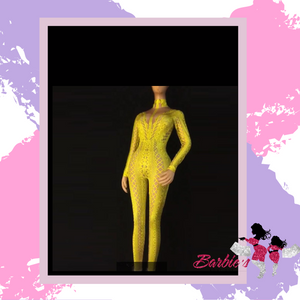 Barbie Sexy See Through Mesh Rhinestone Bodycon Clubwear Ladies Slim Party Show Jumpsuit Romper
