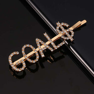 Barbie Big Letter With Silver Gold Rhinestone Hair Clip