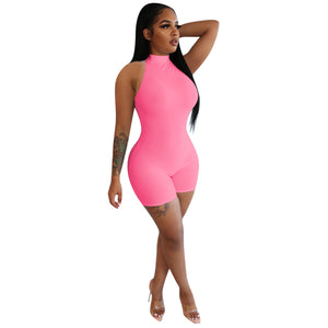 Barbie bright colour ladies halterneck casual jumpsuits