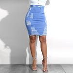 Barbie High Waist Ripped Pencil Jean Skirt