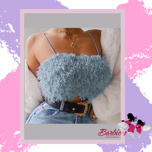 Barbie Blue Fluffy Feather Crop Tops