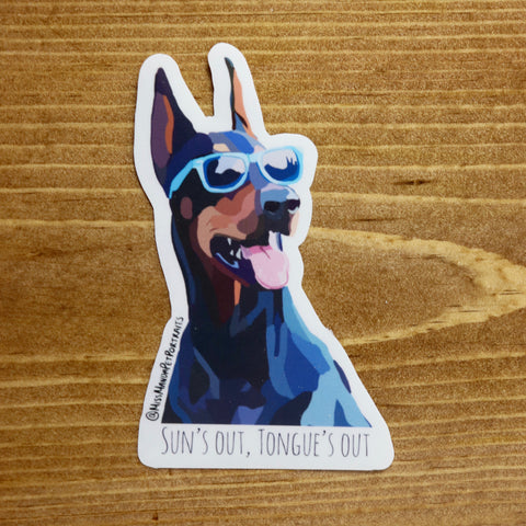 Sun's Out Tongue's Out Stickers (set of 4) - Miss Manda Pet Portraits