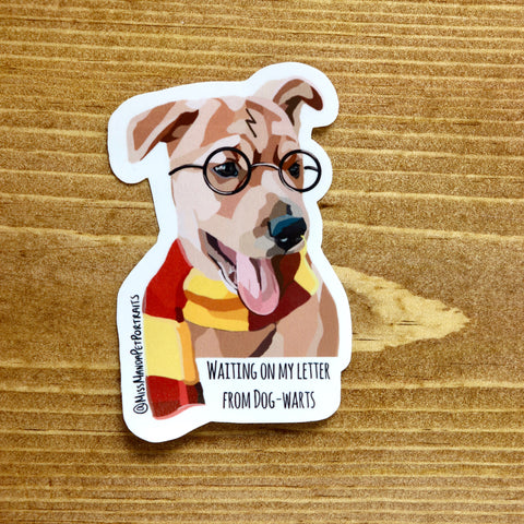"""Waiting for my letter from Dog-Warts"" Stickers (set of 4) - Miss Manda Pet Portraits"