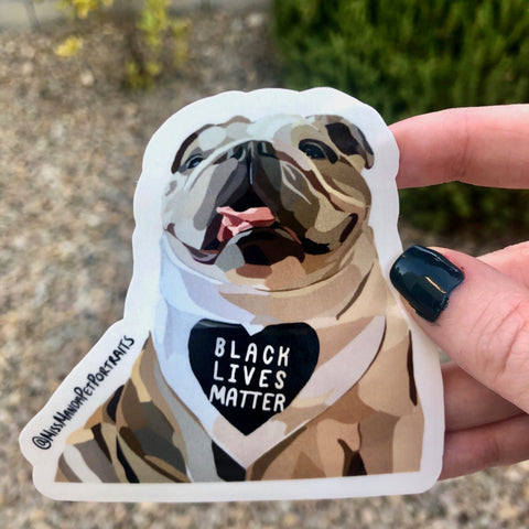 Pups for Black Lives Matter (English Bulldog): 1 Sticker