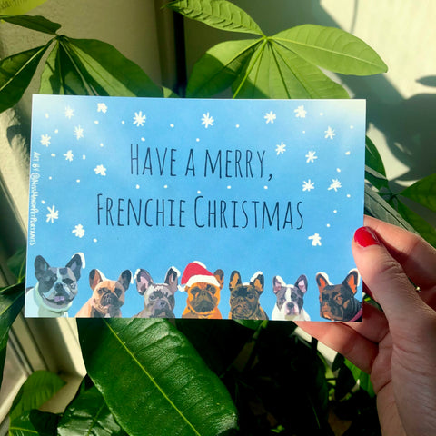 Frenchie Christmas Postcards (set of 4)