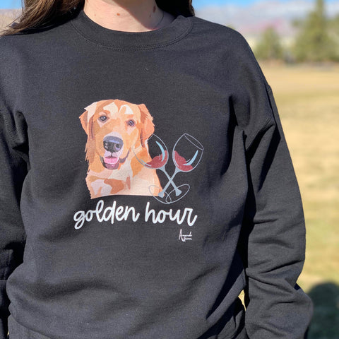 Golden Hour Golden Retriever Unisex Crew-Neck Sweatshirt