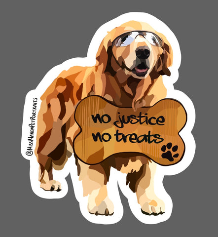 Pups for Black Lives Matter (Golden Retriever): 1 Sticker
