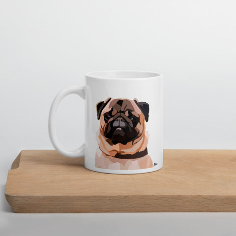 Pug Mug – White - Miss Manda Pet Portraits