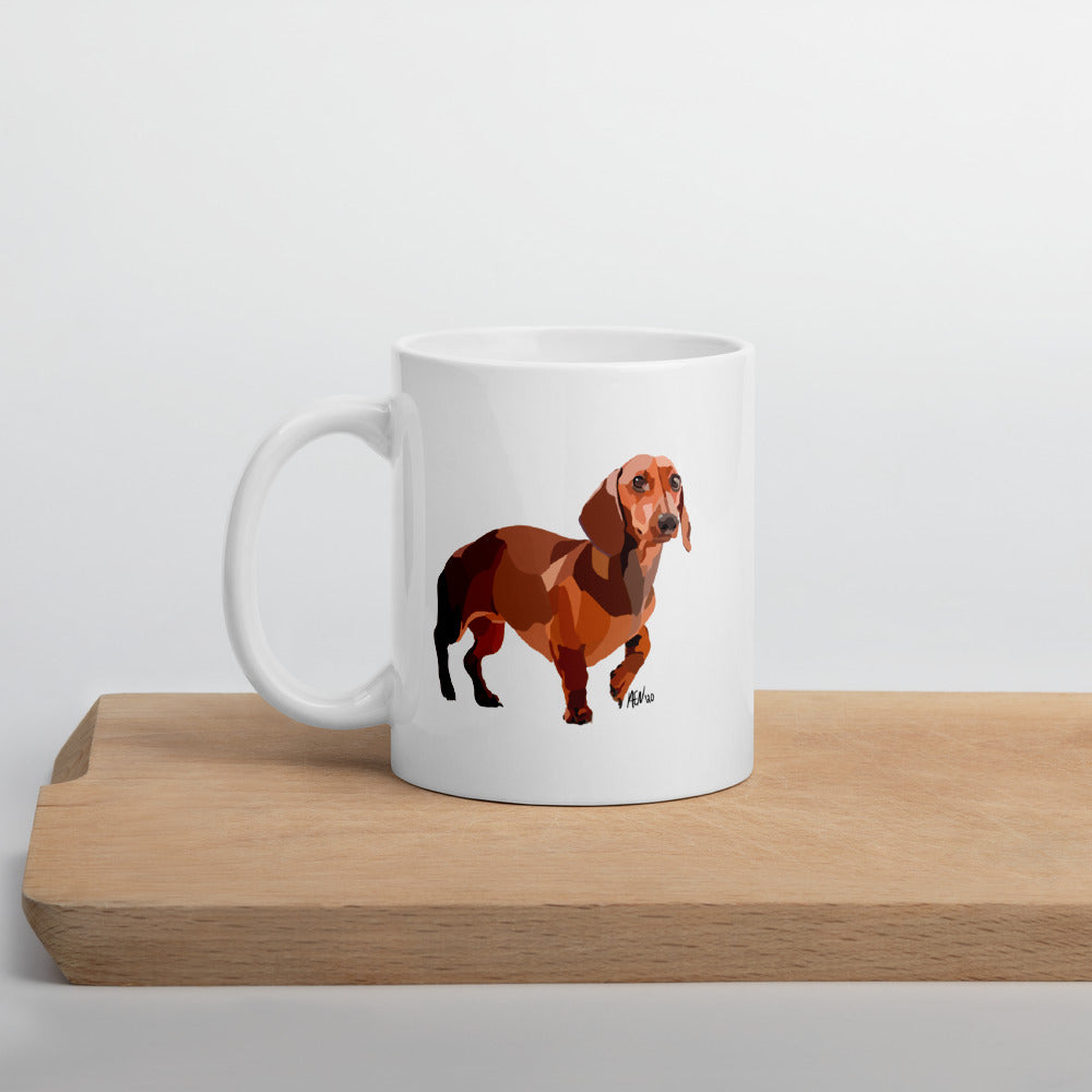 Dachshund Mug – White - Miss Manda Pet Portraits