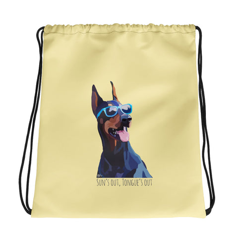 Sun's Out Tongue's Out Drawstring Bag - Miss Manda Pet Portraits