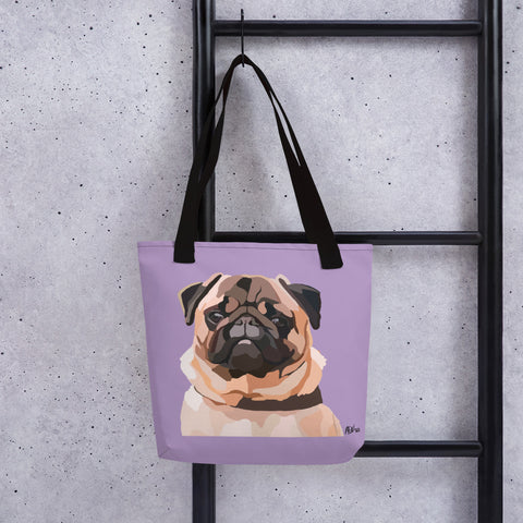 Pug Tote bag – Large Print - Miss Manda Pet Portraits