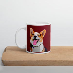 Corgi Mug – Dark Red - Miss Manda Pet Portraits