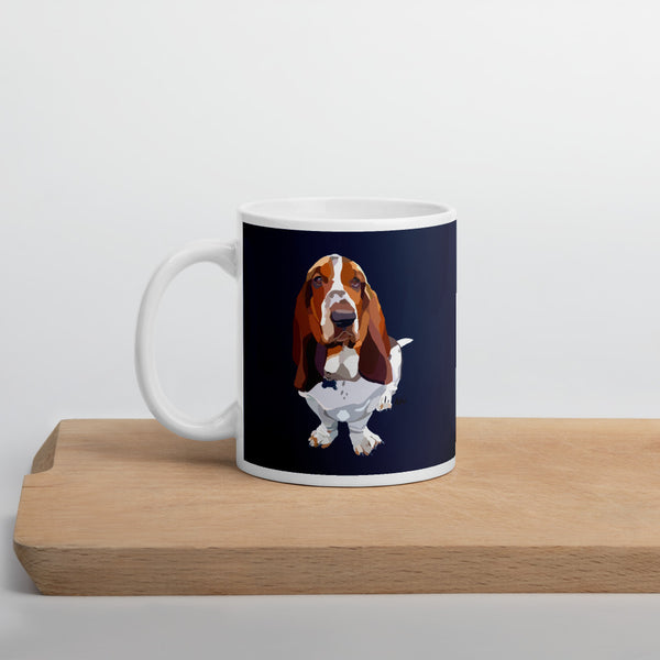 Basset Hound Mug – Navy - Miss Manda Pet Portraits