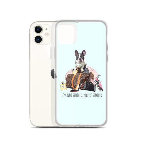 Spoiled French Bulldog Light Blue iPhone Case