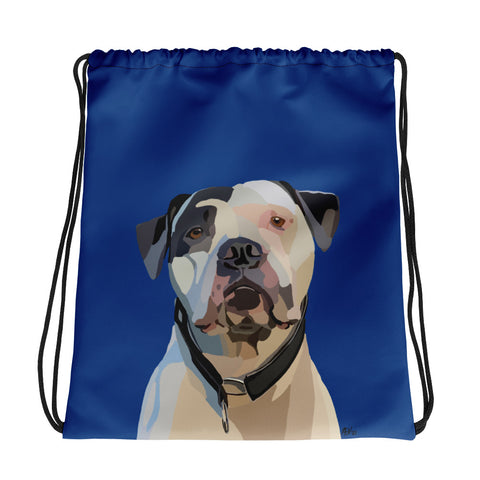 American Bulldog Drawstring bag - Miss Manda Pet Portraits