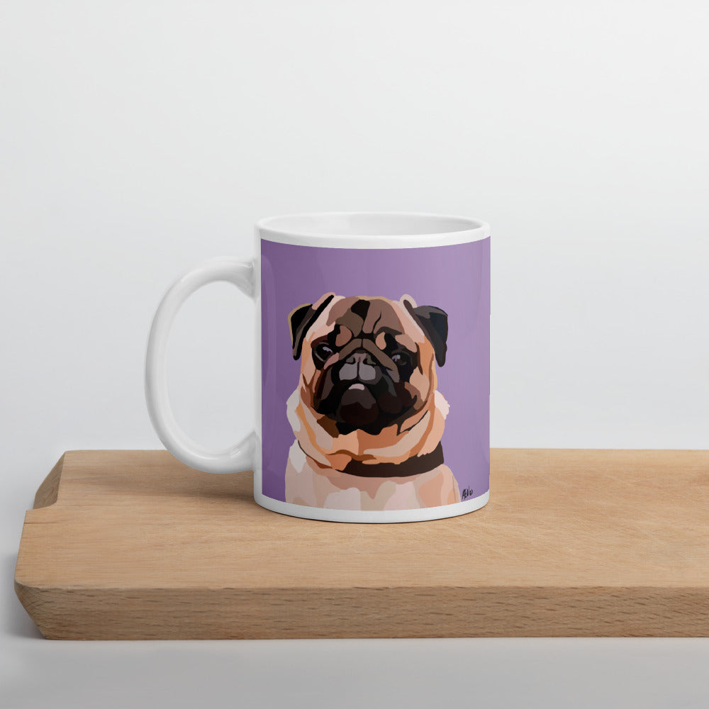 Pug Mug – Purple - Miss Manda Pet Portraits