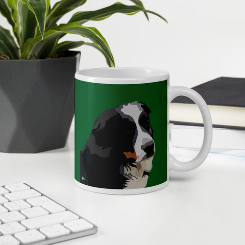 Bernese Mountain Dog Mug – Green - Miss Manda Pet Portraits