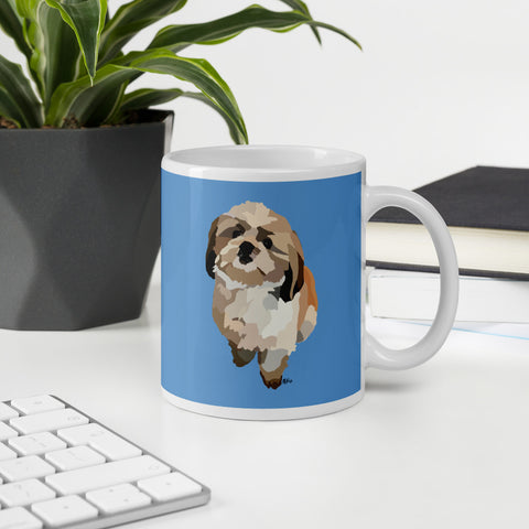 Shih Tzu Mug – Blue - Miss Manda Pet Portraits